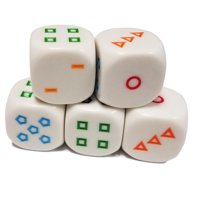 Set of 5 Educational Dice 6 Sided counting Shapes 16mm White Rainbow in Snow Organza Bag