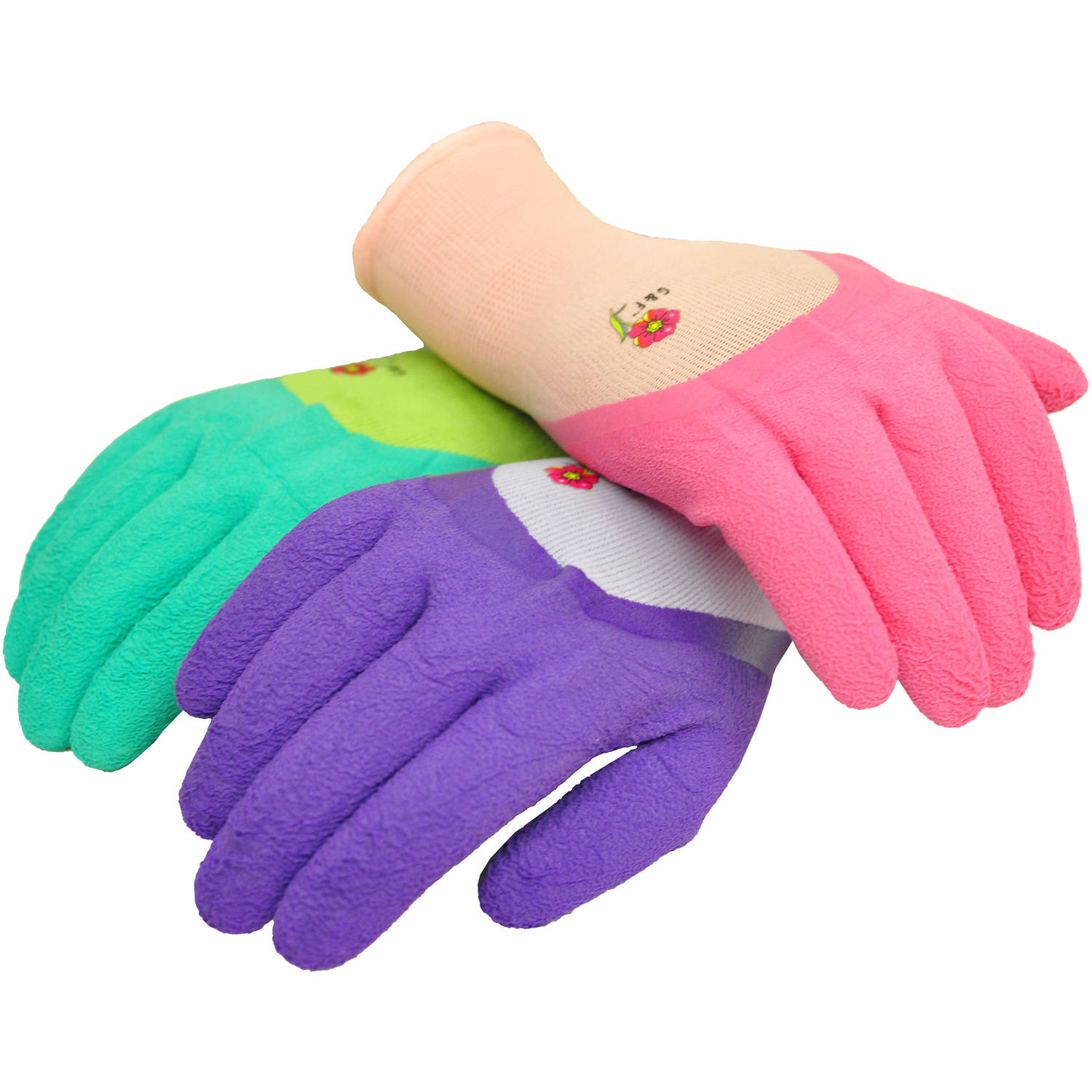 G & F Women Garden Gloves with Micro-foam Nylon Latex Coating and Texture Grip, 3 Pairs