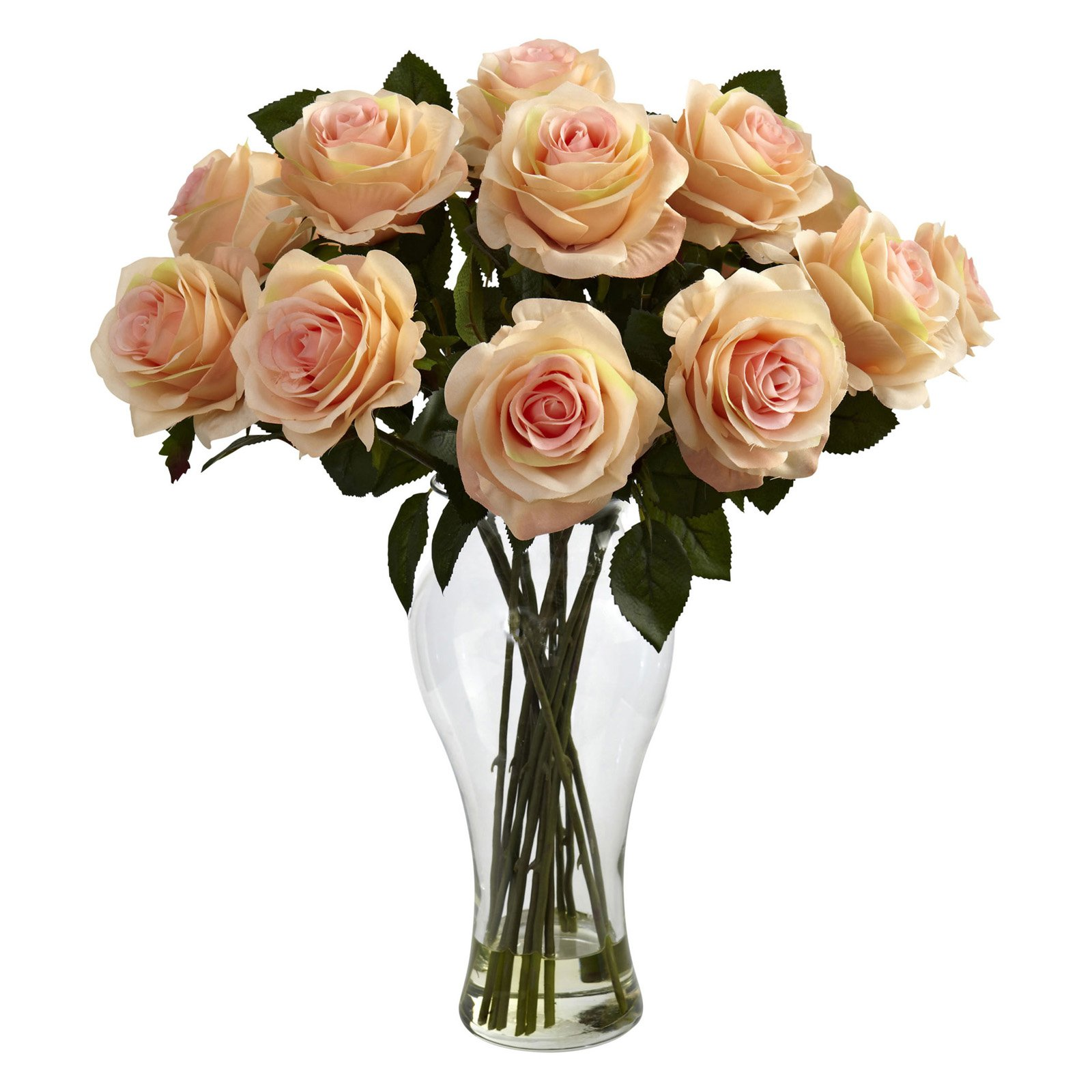 Nearly Natural Blooming Roses with Vase, Peach