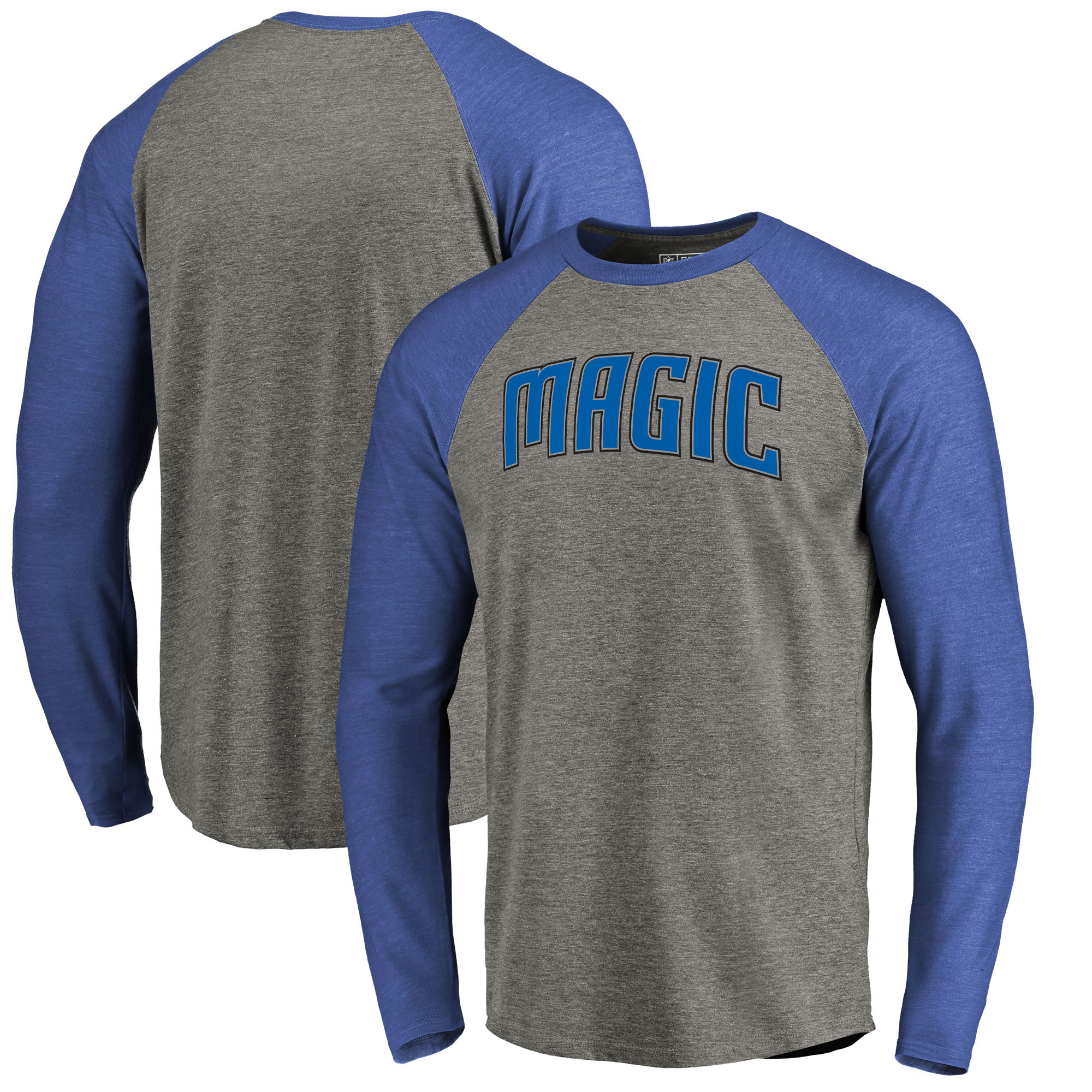 Orlando Magic Fanatics Branded Primary Wordmark Tri-Blend Long Sleeve T-Shirt - Heathered Gray