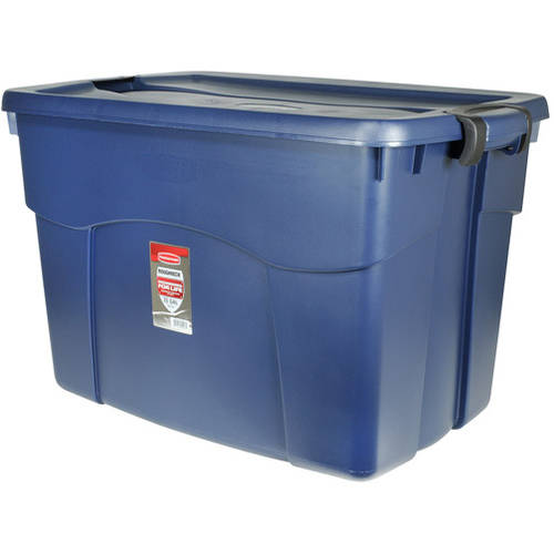 Rubbermaid 35-Gallon (140-Quart) Roughneck Latching Tote, Blue, Set of 6