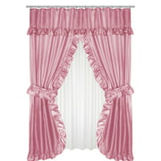 Royal Bath Lauren Double Swag Dobby Fabric Shower Curtain, 100% Polyester, Size 70X72, Color Rose