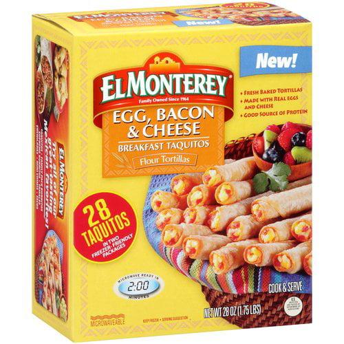El Monterey Egg, Bacon & Cheese Breakfast Taquitos, 28 count, 28 oz