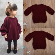 1-6T Toddler Lantern Sleeves Sweater Tops Clothes Kids Baby Girls Outfits Coats