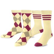 TeeHee Men's Combed Cotton Dress Crew Socks 2-Pair Pack Harlequin & Stripes Pattern, Size 10-13, Tan