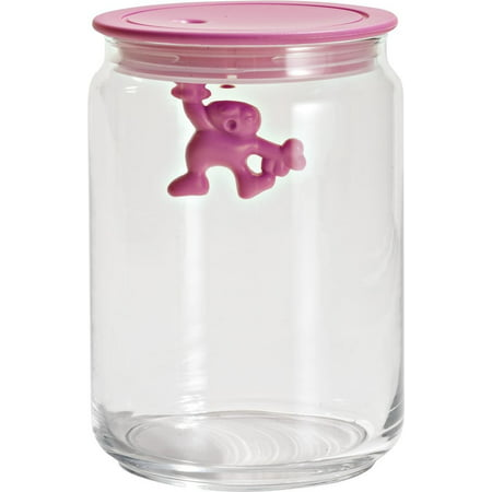 A di Gianni 3-3/4-Cup Glass Jar, Pink, Applying new, fun designs to everyday household items, Alessi has done it again with this glass storage jar By Alessi