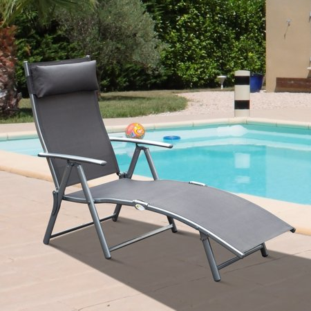 Steel Sling Fabric Outdoor Folding Chaise Lounge Chair Recliner - Grey ()