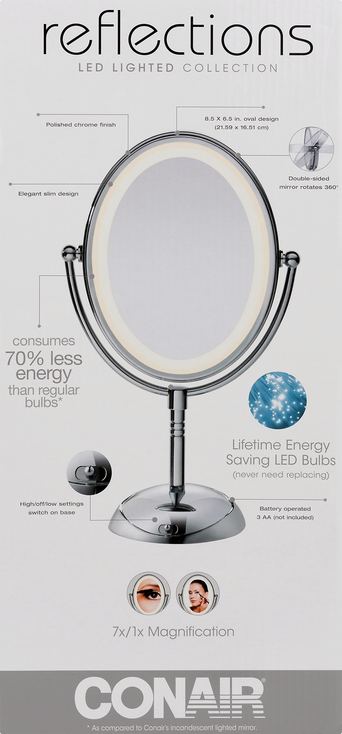 Conair reflections led lighted collection polish chrome finish 10 conair reflections led lighted collection polish chrome finish 10 ct walmart mozeypictures Image collections