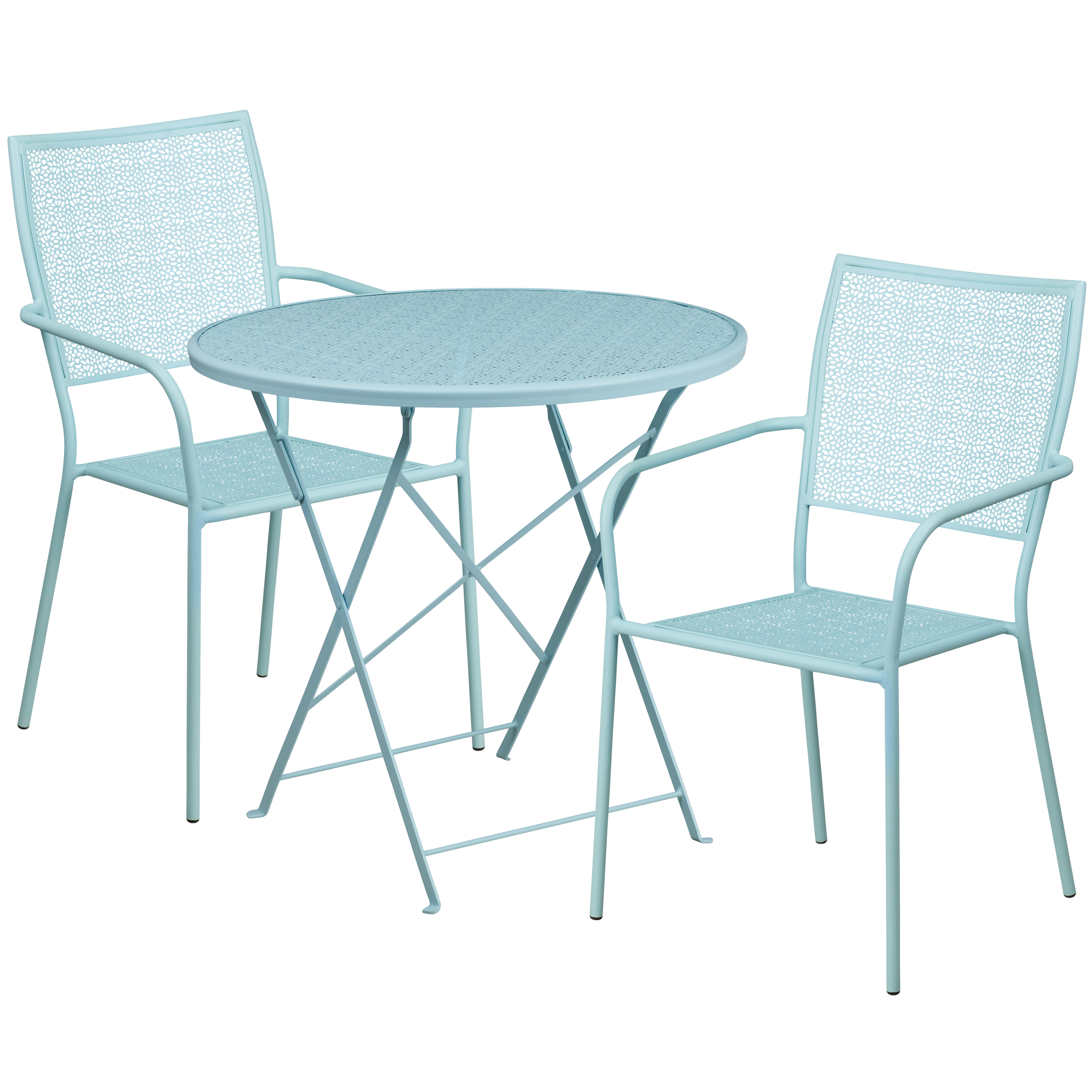 Flash Furniture 30'' Round Indoor-Outdoor Steel Folding Patio Table Set with 2 Square Back Chairs, Multiple Colors