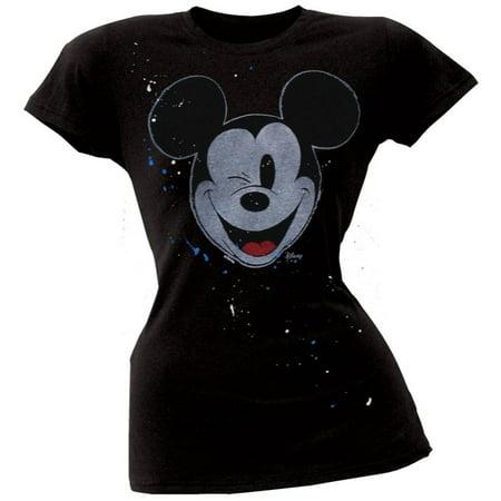 Mickey Mouse - Wink Splatter Juniors T-Shirt - Mickey Mouse Halloween Shirt