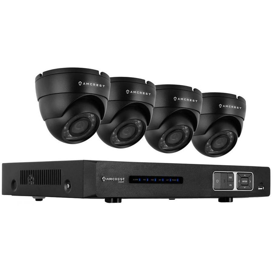 Amcrest Amdv10804m-4d-b 1080p Tribrid HDCVI 4-Channel 2TB DVR Security System with Four 2.1-Megapixel Dome Cameras