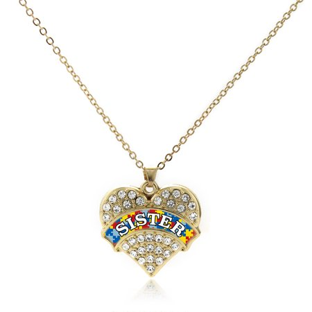 Autism Sister Gold Pave Heart Charm Necklace (Autism Charms)
