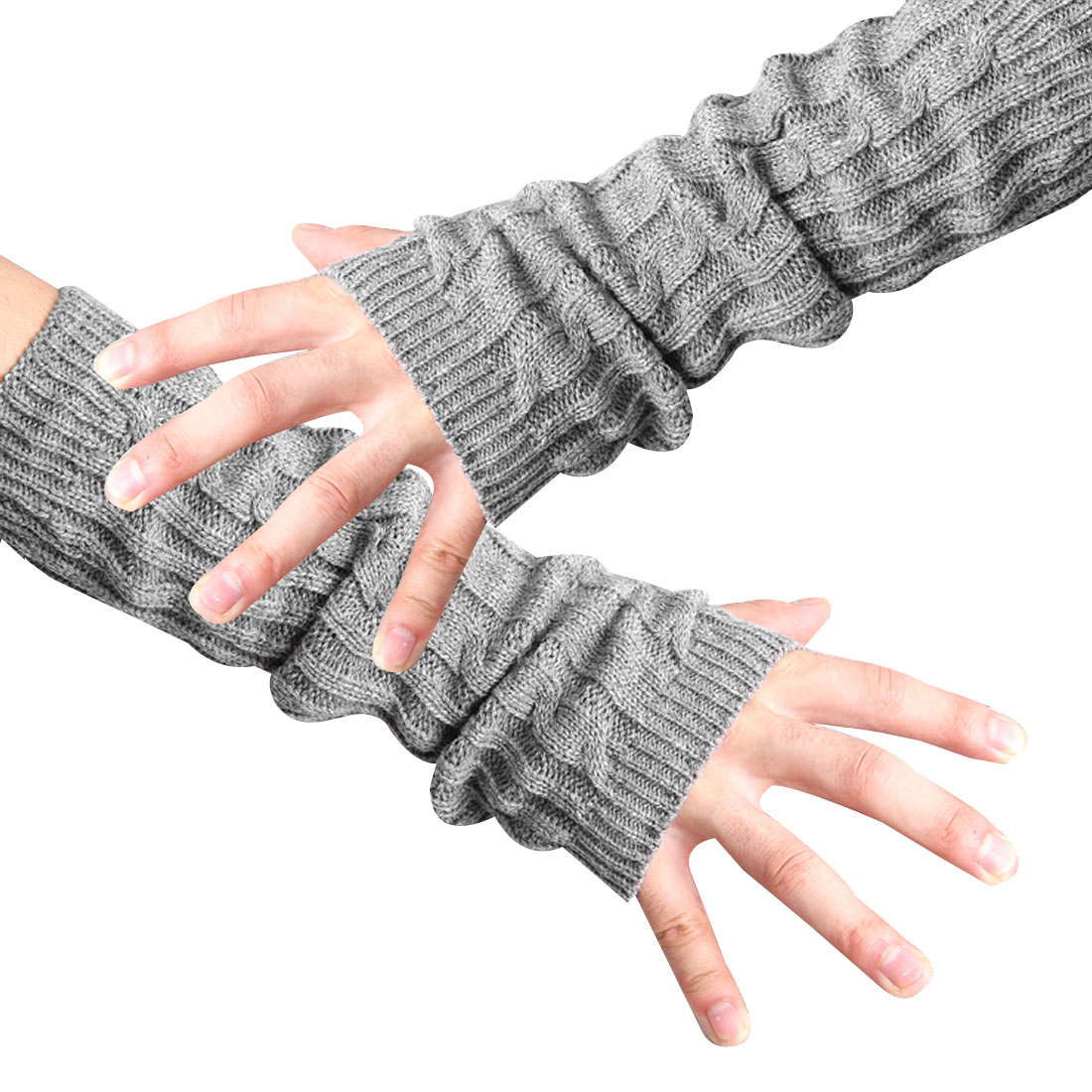 Unique Bargains Men's Stretchy Fingerless Knit Textured Design Warmers Gloves Gray