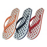 Easy USA S1210-L Lady Heart Printed Flip Flop, 48 Pairs