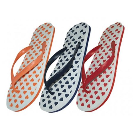 Easy USA S1210-L Lady Heart Printed Flip Flop, 48 Pairs - image 1 of 1