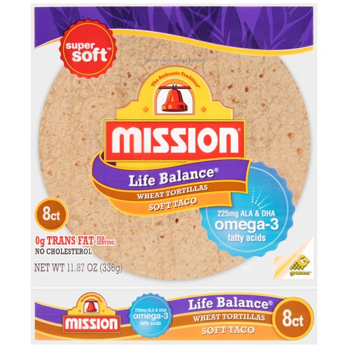 "Mission Life Balance Wheat Flour 8"" Soft Taco SizeTortillas, 8 ct"
