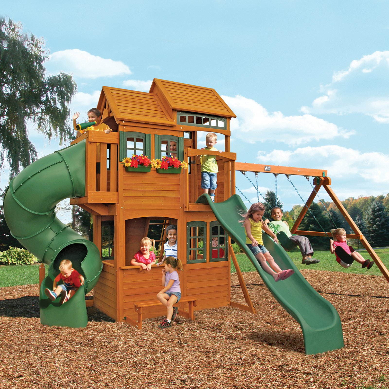 Cedar Summit Shelbyville Deluxe Swing Set Walmart Com