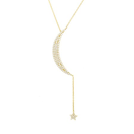 Lesa Michele Cubic Zirconia Moon and Star Dangling Necklace in Yellow Gold over Sterling Silver