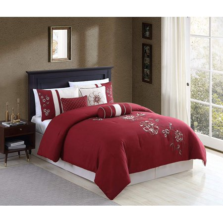 Chezmoi Collection Miranda 7-Piece Floral Hibiscus Embroidered Comforter Set Gold King Comforter