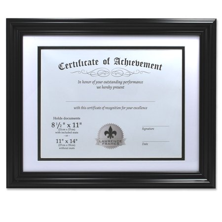 Dual Use Black 11x14 Certificate Picture Frame with Double Bevel Cut Matting for 8.5x11 Document