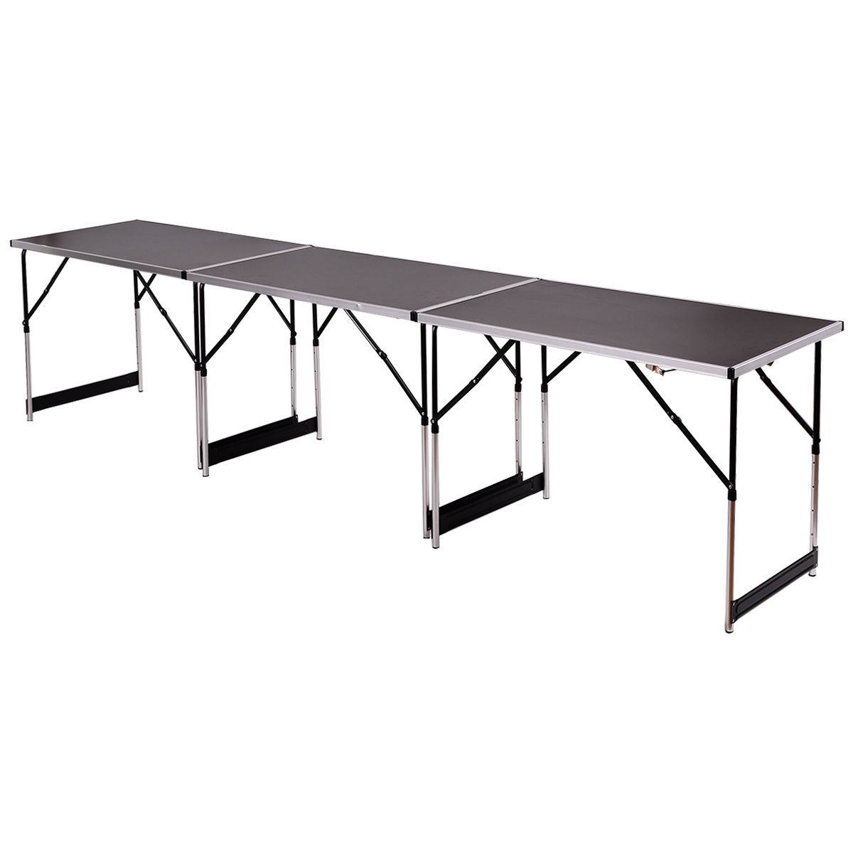 Costway 3PCS Height Adjustable Folding Table Indoor/ Outdoor Party Camping  Picnic Black