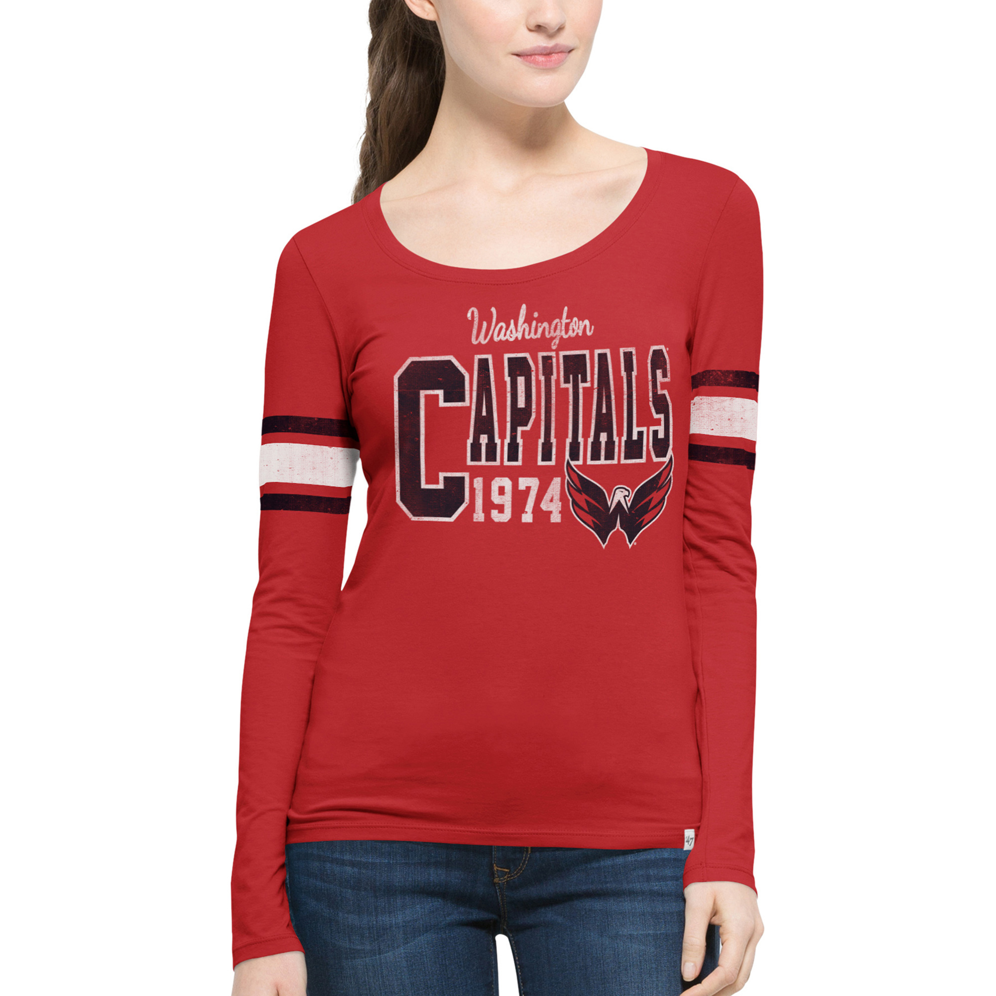 Washington Capitals '47 Women's Home Run Scoop Neck Long Sleeve Slim Fit T-Shirt - Red