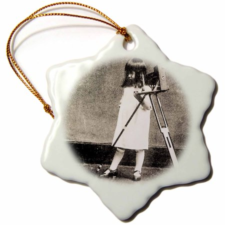3dRose Vintage Japanese Young Girl Photographer and her Camera - Snowflake Ornament,