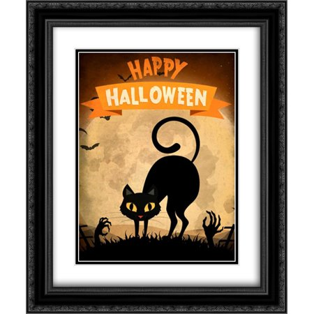 Happy Halloween Black Cat 2x Matted 20x24 Black Ornate Framed Art Print by Allen, Kimberly - Black Cat Halloween Clip Art