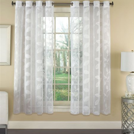 Linden Leaf - Avery Semi-Sheer Faux Linen Grommet Window Curtain Panel with Embroidered Leaf Pattern 53