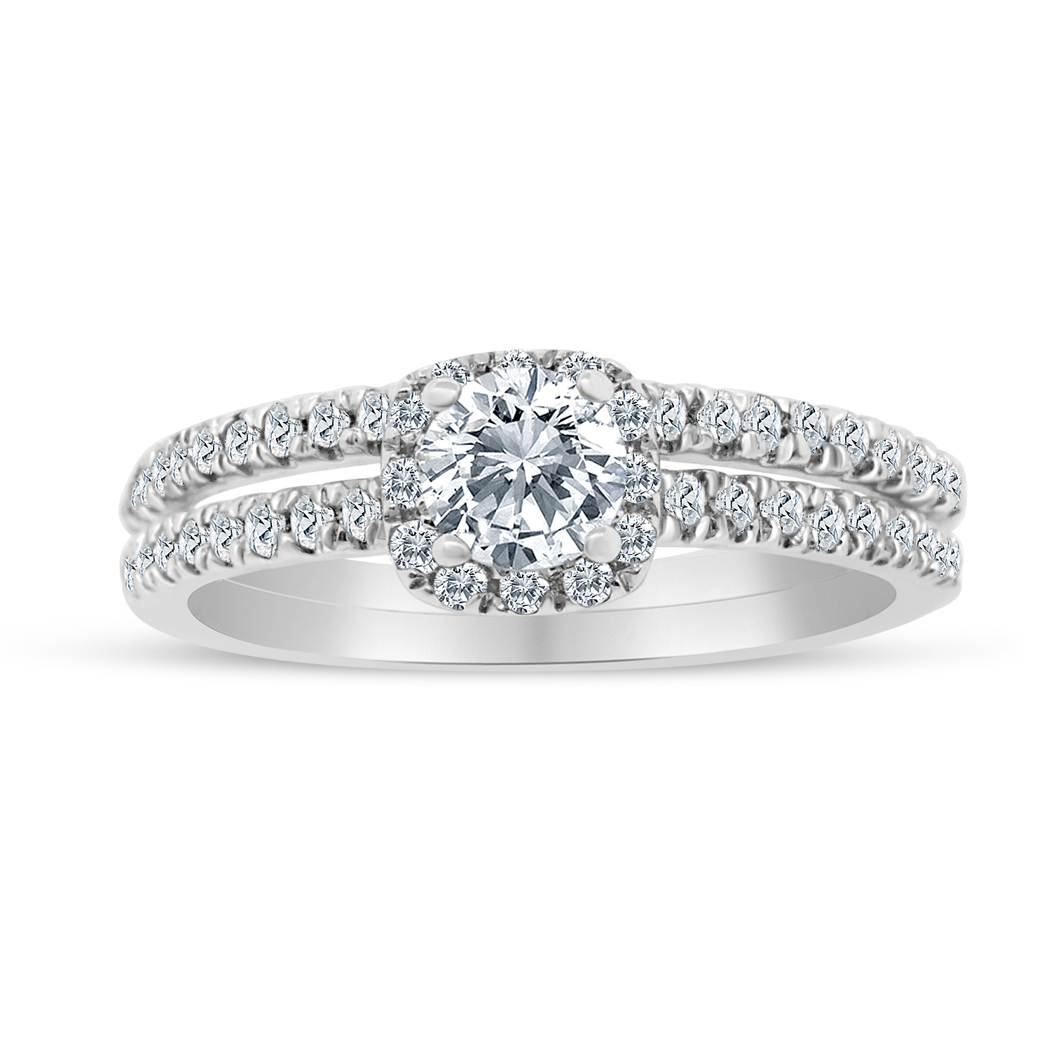 5/8ctw Diamond Halo Bridal Set Engagement Ring in 10k  Wh...