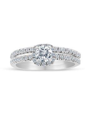 5/8ctw Diamond Halo Bridal Set Engagement Ring in 10k  White Gold