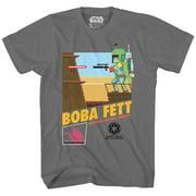 Star Wars Pixel Boba Fett Video Game Adult Mens T-Shirt Charcoal