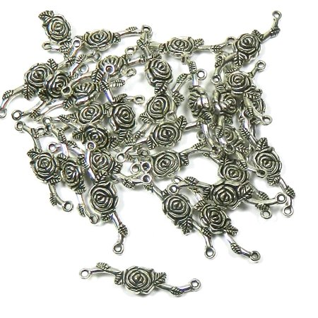 Flower Connector - 30 Antiqued Silver Chain Link Flower Connectors