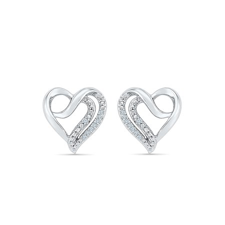 Sterling Silver 0 03 Cttw White Diamond Heart Earring