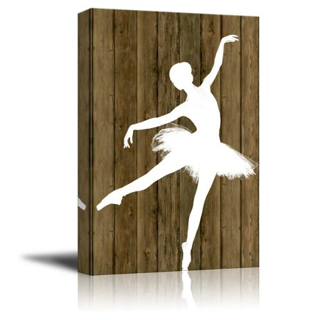 wall26 Ballet Dancing Canvas Wall Art - White Ballet Dancer Silhouette on Rustic Wood Background - Stretched Gallery Wrap Ready to Hang Home Decoration - 32x48 inches (Dancers Silhouette)