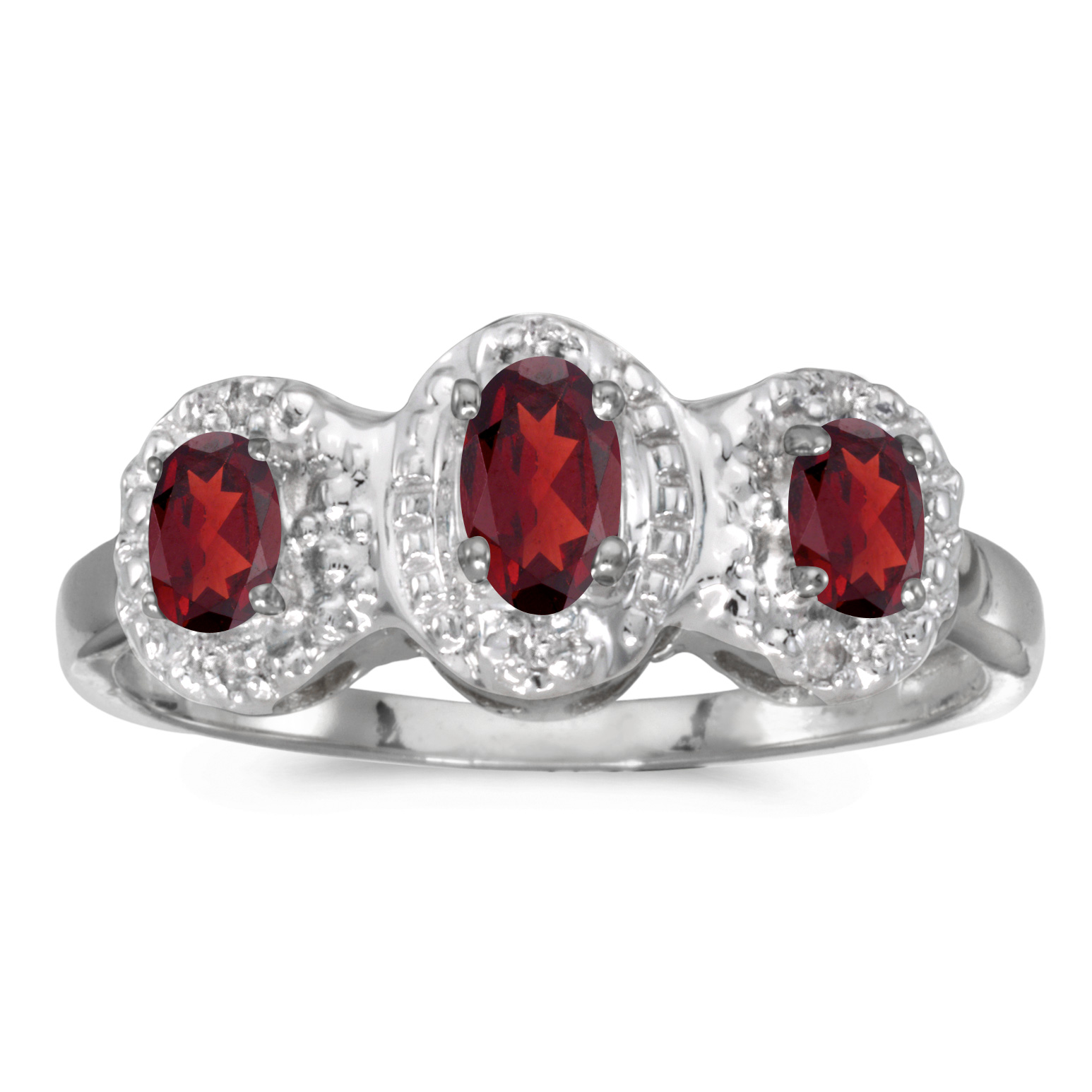 14k White Gold Oval Garnet And Diamond Three Stone Ring by