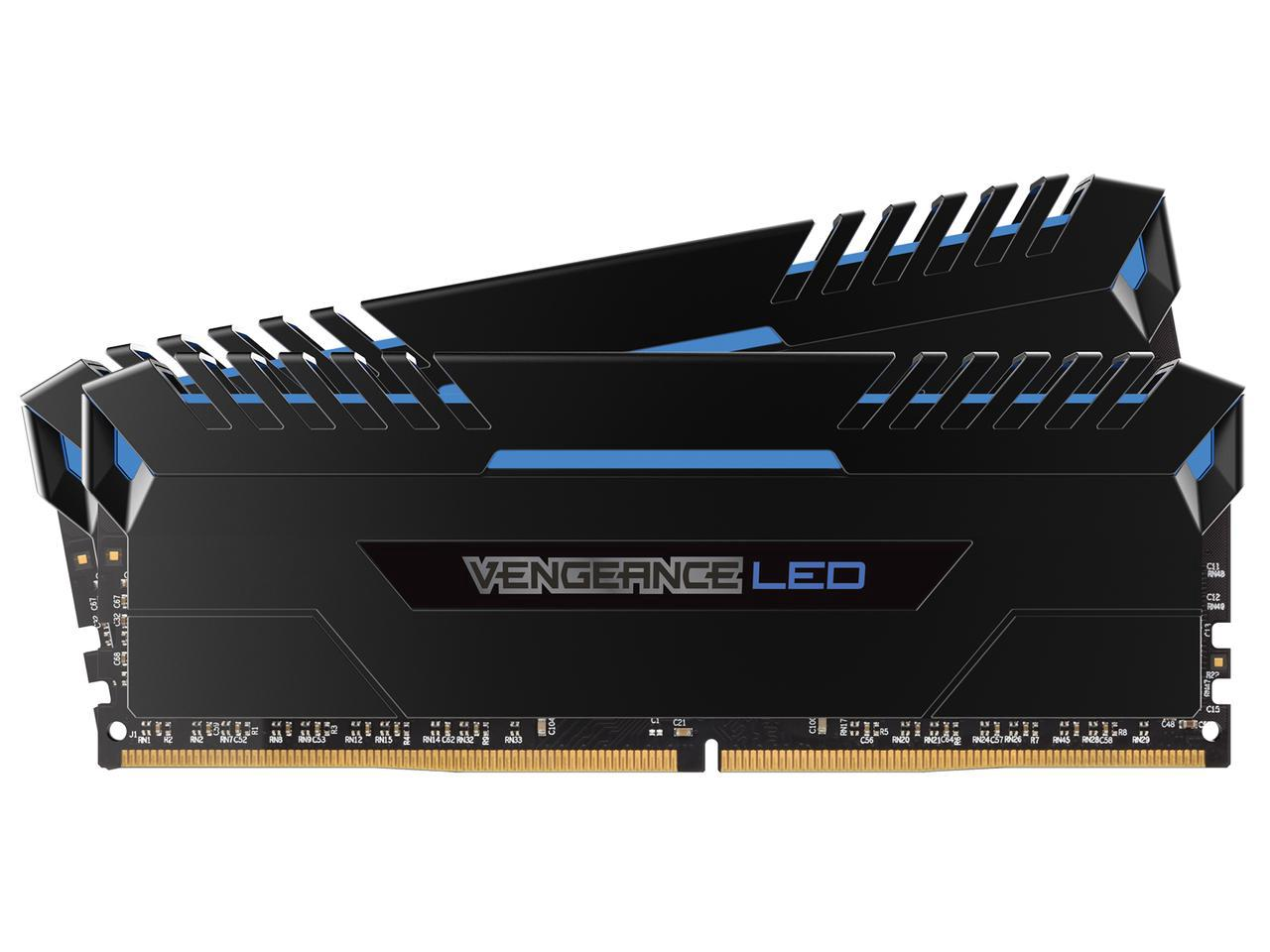 Corsair Vengeance LED 16GB (2x8GB) DDR4 3200 (PC4-25600) C16 for Intel 100 - Blue LED PC Memory (CMU16GX4M2C3200C16B)