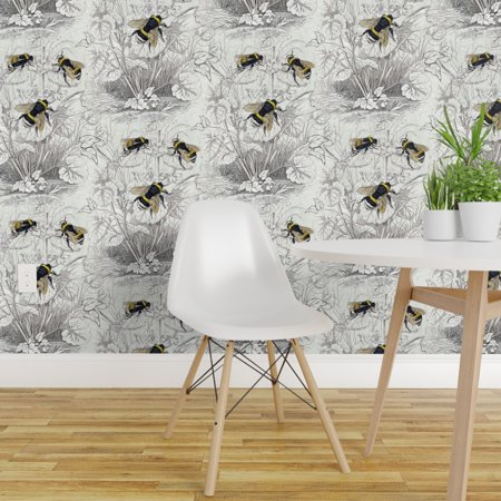 Removable Water Activated Wallpaper Bumble Bee Vintage Floral Flowers
