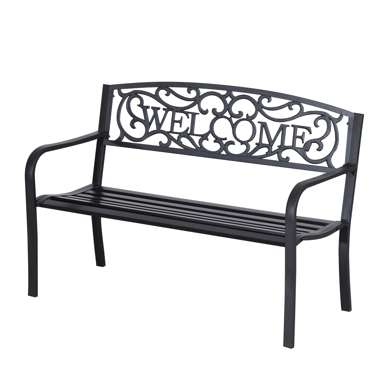 "Outsunny 50"" Welcome Vines Decorative Patio Garden Bench"