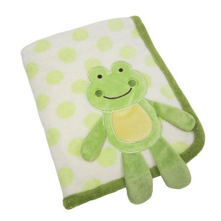 Koala Baby Green Frog Super Soft Appliqued Coral Fleece Dimensional Baby Blanket