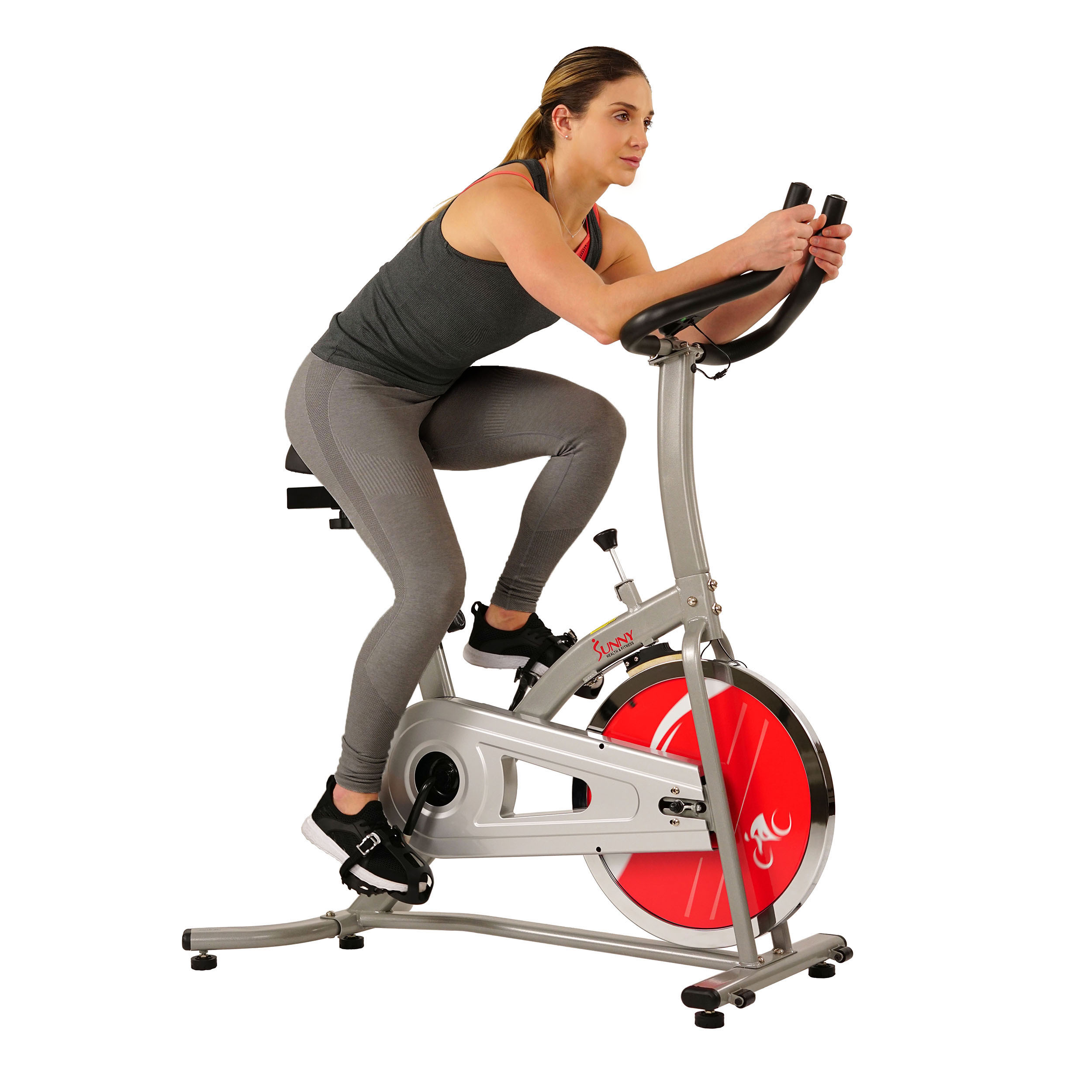 Sunny Health & Fitness Indoor Cycling Exercise Stationary Bike with Monitor and Flywheel Bike - SF-B1203