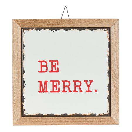 Holiday Time Be Merry Hanging Sign Christmas Decoration, 12