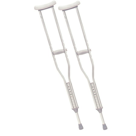 Drive Medical Walking Crutches with Underarm Pad and Handgrip, Adult, 1 Pair Drive Steel Forearm Crutches