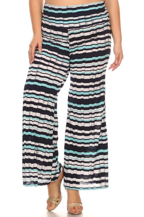 Women's PLUS  trendy print   full length wide legs pants.