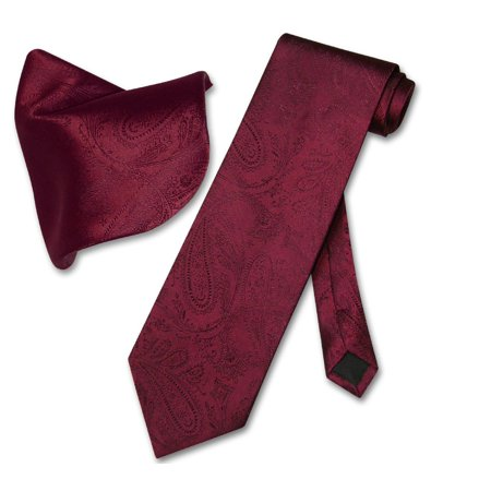 Vesuvio Napoli Burgundy PAISLEY NeckTie Handkerchief Matching Men's Neck Tie Set