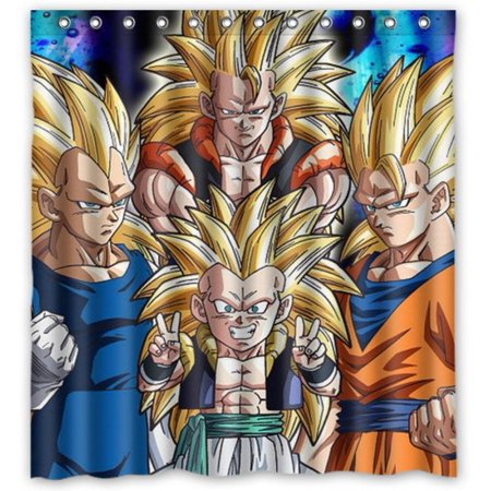 Deyou dragon ball z goku shower curtain polyester fabric for Dragon ball z bathroom