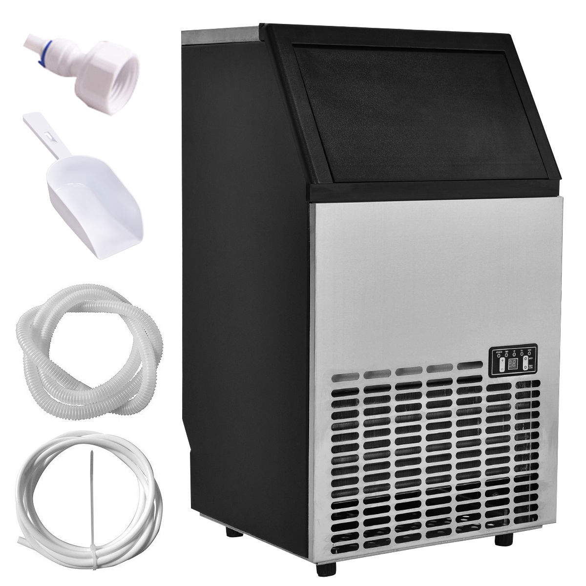 Costway Built-In Stainless Steel Commercial Ice Maker Portable Ice Machine Restaurant