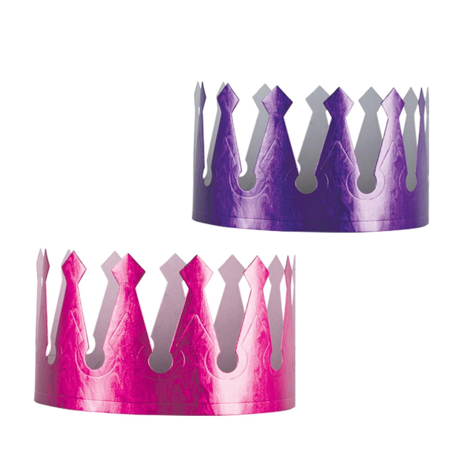 Club Pack of 72 Purple and Pink Embossed Foil Crown Party Hats 3.75""