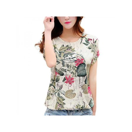 Topumt Summer Women Blouses Elegant Shirts Floral Print Slim Fashion Short Sleeve Tops