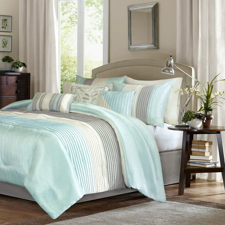 Aqua Salem Pleated Comforter Set (California King) 7pc